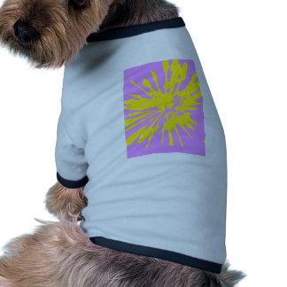 Amarillo del modelo del chapoteo y diseño abstract camiseta de perro