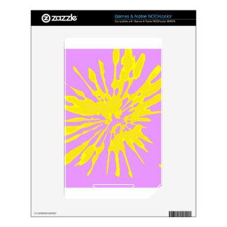 Amarillo del modelo del chapoteo y diseño abstract calcomanía para el NOOK color