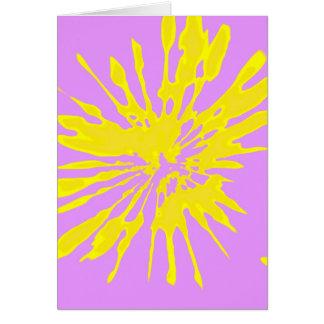 Amarillo del modelo del chapoteo y diseño abstract felicitaciones