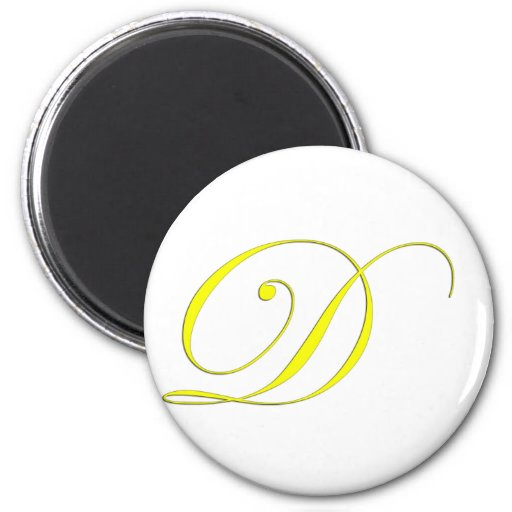 Amarillo del monograma D Imán Redondo 5 Cm