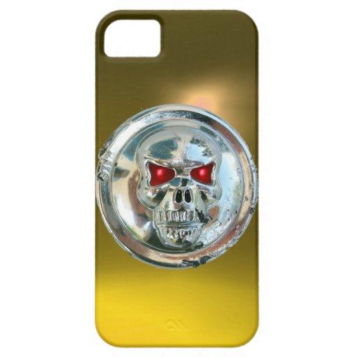 Amarillo del MONOGRAMA de los JINETES del CRÁNEO iPhone 5 Cárcasas