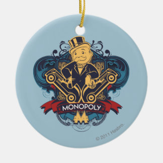 Amarillo del monopolio adorno navideño redondo de cerámica