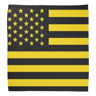 Amarillo del negro de la bandera americana bandana