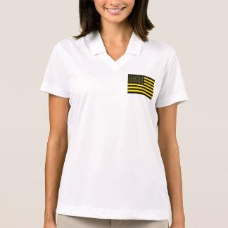 Amarillo del negro de la bandera americana polo