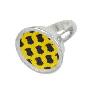 Amarillo del negro del escudo del escudo anillos con foto