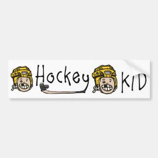 Amarillo del niño del hockey etiqueta de parachoque
