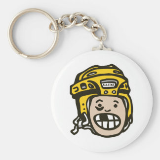 Amarillo del niño del hockey llavero redondo tipo pin
