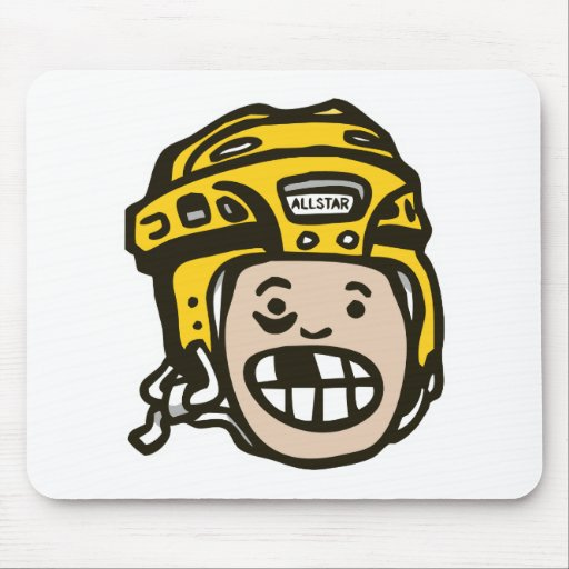Amarillo del niño del hockey tapetes de raton