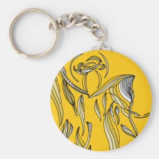 Amarillo del oro del ángel del extracto del estilo llavero personalizado