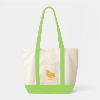 Amarillo del polluelo del vegano bolsa tela impulso