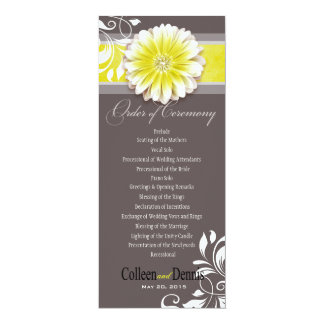 """Amarillo del programa del boda de la voluta 1 de invitación 4"""" x 9.25"""""""