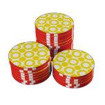 Amarillo del punto 3 fichas de póquer