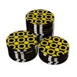 Amarillo del punto 3 juego de fichas de póquer