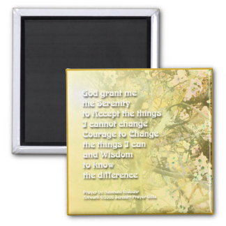 Amarillo del rezo de la serenidad - flores en el i imán de frigorífico