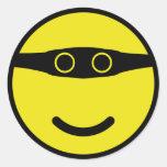 amarillo del smiley de la sonrisa del bandido pegatina