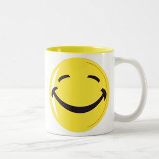 Amarillo del smiley taza de café de dos colores