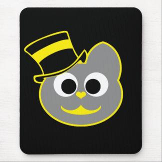 Amarillo del sombrero de copa del gato del gatito mouse pads