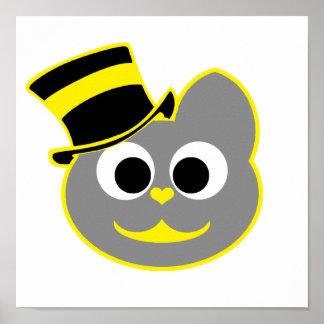 Amarillo del sombrero de copa del gato del gatito  póster