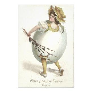 Amarillo del traje del huevo de Pascua del chica d Arte Fotográfico
