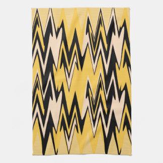 Amarillo del vintage, art déco abstracto negro de  toallas
