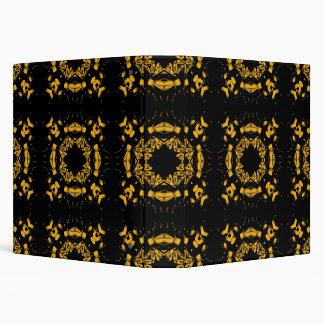 """Amarillo del vintage, modelo floral negro de los carpeta 1 1/2"""""""