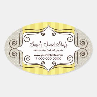 Amarillo dulce y lunares pegatina ovalada