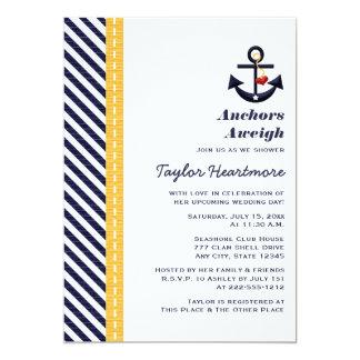 Amarillo e invitaciones nupciales náuticas de la invitación 12,7 x 17,8 cm