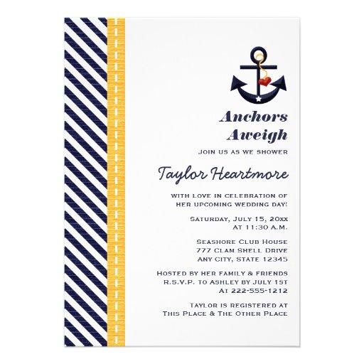 Amarillo e invitaciones nupciales náuticas de la d invitacion personal