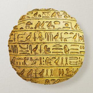 Amarillo egipcio antiguo de los jeroglíficos cojín redondo