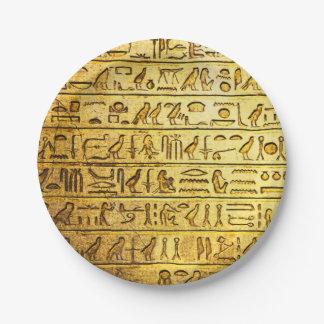 Amarillo egipcio antiguo de los jeroglíficos platos de papel
