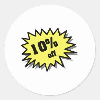 Amarillo el 10 por ciento apagado pegatina redonda