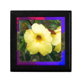 Amarillo elegante barato de la flor de la ORQUÍDEA Joyero Cuadrado Pequeño