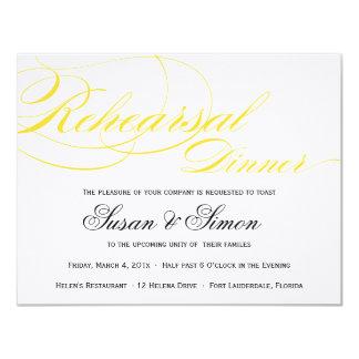 Amarillo elegante de la invitación de la cena del