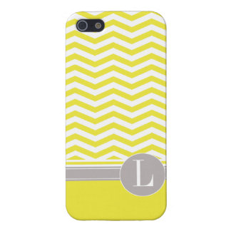 Amarillo elegante del monograma el de Chevron iPhone 5 Cárcasa