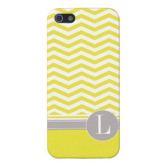 Amarillo elegante del monograma el | de Chevron iPhone 5 Fundas