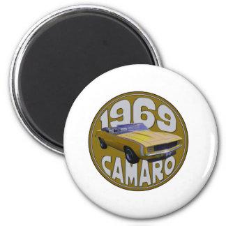 amarillo estupendo del deporte 1969 del camaro imán para frigorífico