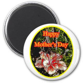 Amarillo feliz del día de la madre o del hibisco d imán para frigorífico
