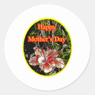 Amarillo feliz del día de la madre o del hibisco etiquetas redondas