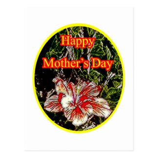 Amarillo feliz del día de la madre o del hibisco postal