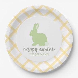 Amarillo feliz personalizado de la placa de papel platos de papel