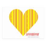 Amarillo fino 3 de las rayas tarjetas postales