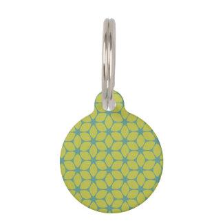 Amarillo/flor geométrica del trullo identificador para mascotas