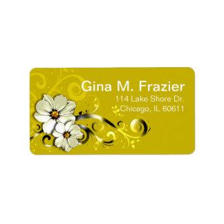 Amarillo floral adornado del Flourish el | Etiquetas De Dirección