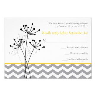 Amarillo floral gris Chevron que casa la tarjeta Anuncios