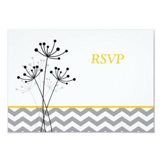 """Amarillo, floral gris, Chevron que casa la tarjeta Invitación 3.5"""" X 5"""""""
