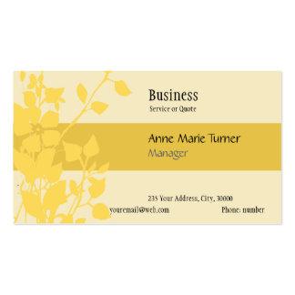 Amarillo floral promocional moderno de la mostaza tarjeta de visita