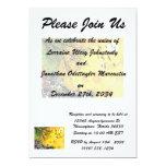 Amarillo floral splotch.png del pájaro del árbol invitación 12,7 x 17,8 cm