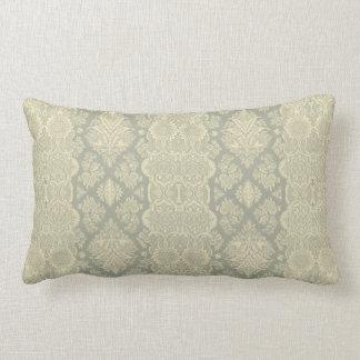 Amarillo floral y gris del vintage de encaje almohada