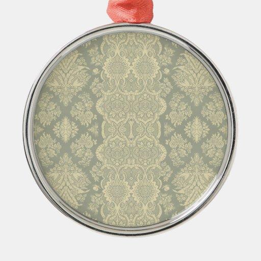 Amarillo floral y gris del vintage de encaje adorno redondo plateado