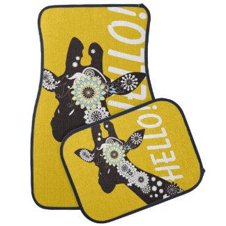 Amarillo fresco enrrollado de la jirafa de Paisley Alfombrilla De Auto